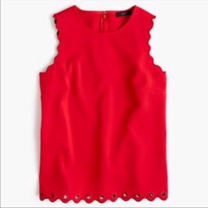 J.Crew Red Scalloped Tank Top with Grommet sz 2